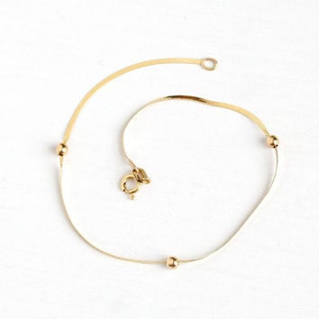 Estate 14k Yellow Gold Bracelet - Dainty Beaded Italy Fine Stacking 7 inch Bracelet Jewelry