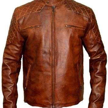 Vintage brown cafe racer leather jacket with quilted patches