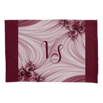 Pretty pink fractal. Silk imitation. Add monogram. Pillow Case