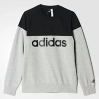 Adidas New fashion bust letter print contrast color couple sports leisure thick long sleeve top sweater Gray