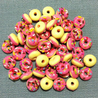 20 Miniature Pink Donuts Clay Polymer Round Cookies Cakes Biscuits Cute Little Tiny Small Dollhouse Bakery Supply Food Jewelry Beads Bead