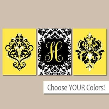 Yellow Black Wall Art, Letter Damask Monogram Decor, Damask Bathroom Decor, Yellow Black Bedroom Wall Decor, Set of 3, Canvas or Prints