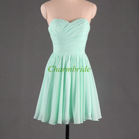 short mint bridesmaid prom dresses simple bridesmaid dress cheap homecoming dress / party gown prom dress