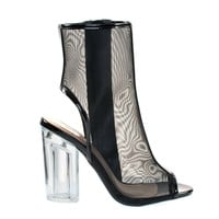 Prema Black Mesh By Soda, Perspex Chunky Block Heel In See Through Mesh Net Peep Toe Ankle Bootie