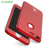 FLOVEME 360 Degree For iPhone 7 Case Full Body Protection Cover For iphone7 Plus Cases iphon 7 Plus Phone PC TPU Fitted Cover