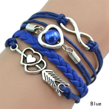 Bracelet Multilayer Braided Bracelet With Heart and Infinity Shape Decorations 9 Colors