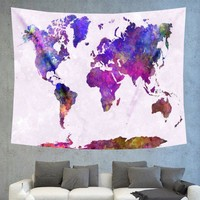 World Map Purple Tapestry Boho Wall Hanging