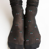 Women NEW Hezwagarcia Cute Cherry Pattern Frill Stocking Black Sheer Lace Layered Socks Hosiery