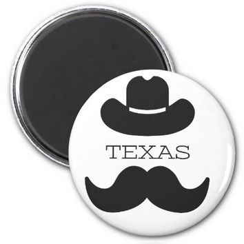 Texas in White Magnet