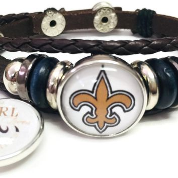 NFL New Orleans Girl Loves The Saints Logo Bracelet Football Fan Brown Leather W/2 18MM - 20MM Snap Charms New Item