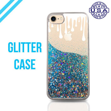 White Paint Drips Cute Tumblr Liquid Glitter Case Sparkle Clear Case iPhone 6 Plus iPhone 6s iPhone 6s Plus iPhone 7 iPhone 7 Plus
