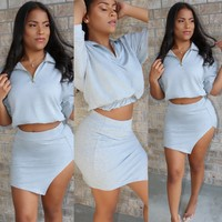 French Terry Set Neon Grey