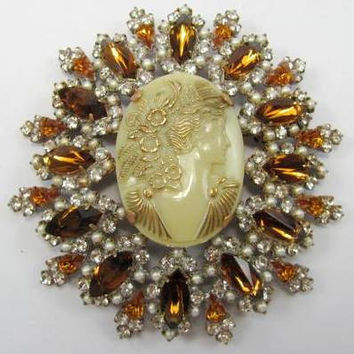 Huge Vintage Style Czech Glass Cameo Brooch Flowers Amber Rhinestone Pin Signed Artist