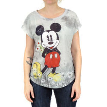 Disney Disney Womens Mickey Mouse Green Sublimated Graphic Print Casual T-Shirt Top