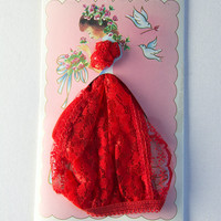 Vintage Red Lace Panties Novelty Valentine's Day Gift Card New Old Stock
