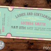 Circus Baby Shower Invite Carnival Invitations Gender Reveal INSTANT DOWNLOAD Ticket Admit One Couples Twins Personalize Editable Printable