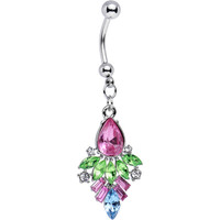 Pink and Green Gem Art Deco Inspired Dangle Belly Ring | Body Candy Body Jewelry