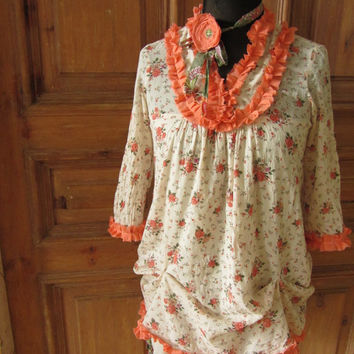Floral Print Prairie Dress, Peach Boho Chic Upcycled Dress, Country Chic Dress, Repurposed Day Dress, Shabby Ruffle Chintz Dress