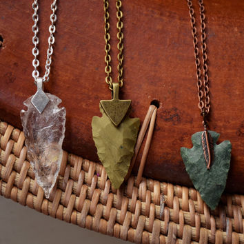 Arrowhead Necklace Flint Stone Tribal Necklace