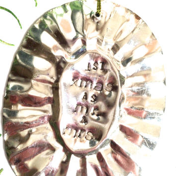 Stamped Ornament, Vintage Tin Mold, Christmas Ornament, First Christmas Ornament, Family Christmas Ornament, Vintage Ornament, Love Ornament