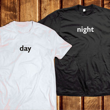 Day Night Couples Shirts, Matching Tshirts Set, Tumblr Clothes, Teen Tshirts Fashion
