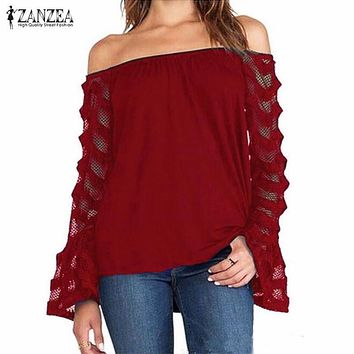 ZANZEA Fashion Blusas 2017 Spring Autumn Women Blouse Off Shoulder Mesh Long Sleeve Lace Shirt Tops Plus Size S-5XL Sexy Blouses