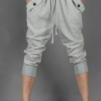 Gray Cropped Harem Pants
