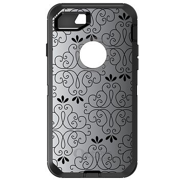DistinctInk™ OtterBox Defender Series Case for Apple iPhone / Samsung Galaxy / Google Pixel - Black White Fade Black Floral Pattern