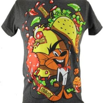 Looney Tunes Speedy Gonzales Mens T-Shirt - Speedy Gonzales Taco Explosion on Gray (Large)