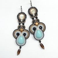 Soutache Earrings Very Long Earrings Statement Earrings Long Dangle Earrings Big Chandelier Earrings Large Earrings Soutache Jewelry Blue