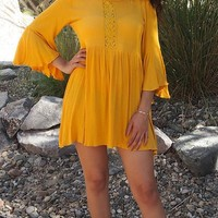 Can't Stop Staring Yellow Flounce Sleeve Swing Dress