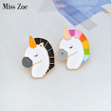 Miss Zoe Cartoon animal Colorful horse Pin BFF Brooch Button Pins BFF Denim Jacket Pin Badge Jewelry Gift for Kids Friends