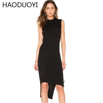 HAODUOYI 2017 Women Sexy Sleeveless Long Sweater Dress Woman Fashion Asymmetric Tie Slim Solid Black Knitted Dresses