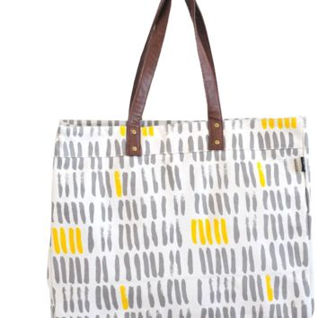 Carryall Tote - Vertical Strokes Grey