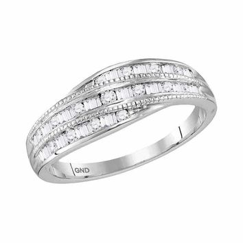 10kt White Gold Women's Round Baguette Diamond Milgrain Band Ring 1/3 Cttw - FREE Shipping (US/CAN)
