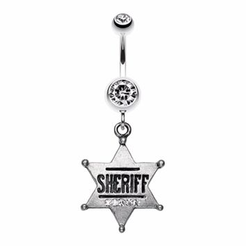 Sheriff Badge Sparkle Belly Button Ring