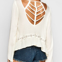 Blu Pepper Cage Back Womens Crop Top Ivory  In Sizes