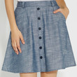 chambray skirt with buttons