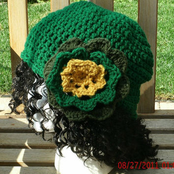 Hand Crocheted Hat - Sassy in Green - Crochet Hat