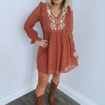 Can't Stop This Feeling Dress: Copper/Ivory