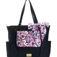 Black/Pink Floral Malibu Nylon Baby Bag by Juicy Couture, O/S