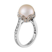 Les Elegantes Ring, Brown & White Diamonds, Pink Pearl - Lou... - Polyvore