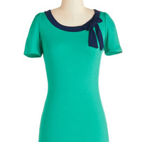 ModCloth Rockabilly Short Sleeves Town Square Fair Top in Jade