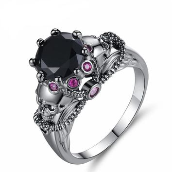 Punk Black Gold Color Skull Ring