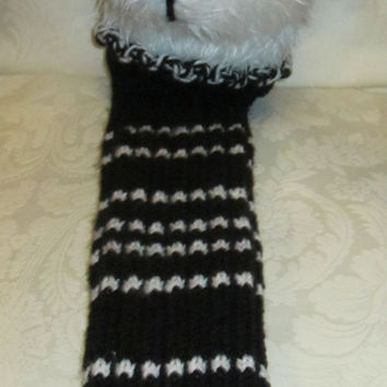 Panda Bear Golf Club Head Cover Black and White Plush Double Knit Handle Shield Novelty Golfers Gift  Christmas Stocking Stuffer Man or Lady