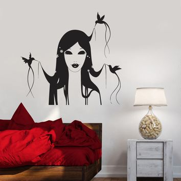 Vinyl Decal Girl Hairstyle Bird Beauty Salon Decor Hair Stylist Barber Wall Sticker Mural Unique Gift (ig2775)