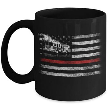 Patriotic Fireman American Flag Thin Red Line Firefighter Mug