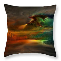 Decorative accent throw pillow.Game of Thrones - Kings Landing and Glow Dragon, beautiful digital art on pillow Fantasy Landscape artwork