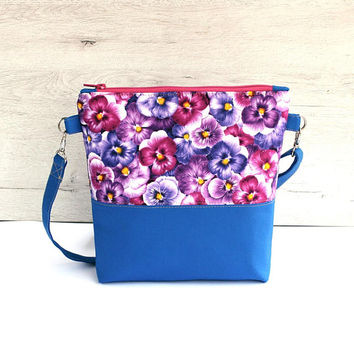 Flower evening Bag cotton pansies handbag purple blue bag pansies many sewing bag summer style blue unique handbag blue bag zipper plastic