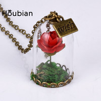 Red Rose Crystal Pendant Necklace for Women Gift Glass Dried Flower Wishing Bottle Beauty and the beast Necklace Free Shipping